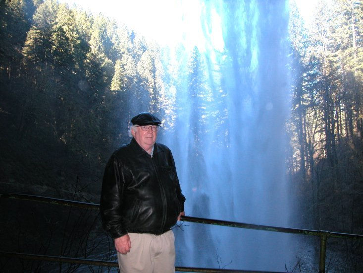 Silver Falls: Don behind South Falls, in the Winter 10