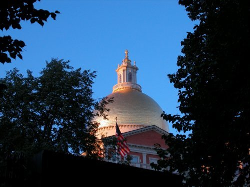 Evening falls at Massachusetts State House