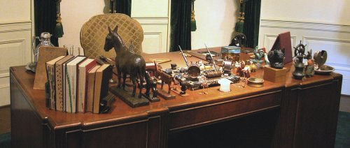 Typical items on Oval Office desk