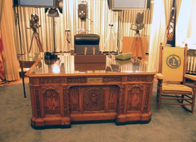 Replica of Oval Office with TV equipment