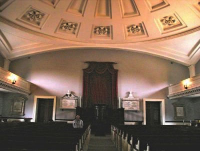 Interior, First Parish Church (Unitarian) Quincy Massachusetts, looking toward the pulpit