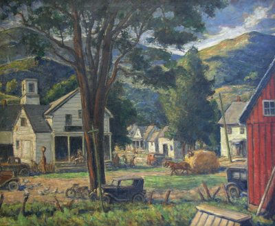 Painting of Plymouth Notch, Vermont, Calvin Coolidge's home town