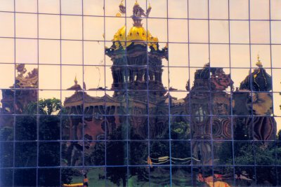 Reflection of the capitol in the Henry A. Wallace Building