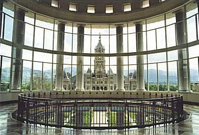 Salt Lake County Courts Building rotunda; old City-County building across the street