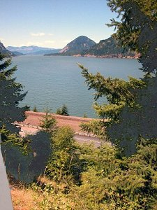 The mighty Columbia seen from the Gorge trail at Starvation Creek Falls