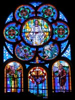 Stained glass window in the Stone Church