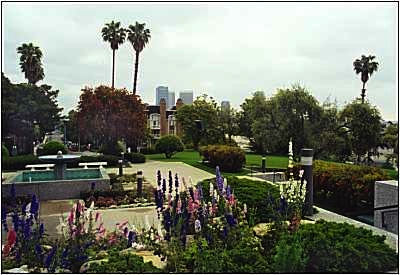 The Temple grounds with Los Angeles in the background