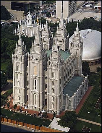 The Salt Lake Temple from the 26th floor of the Church Administration Building